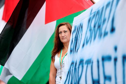 Ximena Silva from Chile at the Ireland Palestine Solidarity campaign protest at the GPO. Picture; GERRY MOONEY.