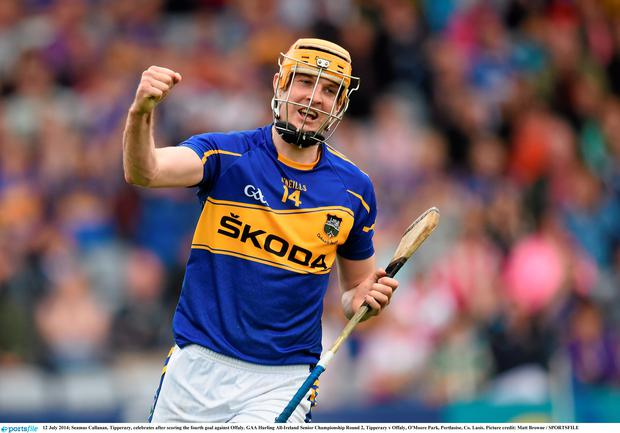 Seamus Callanan, Tipperary, celebrates after scoring the fourth goal against Offaly. GAA Hurling All-Ireland Senior Championship Round 2, Tipperary v Offaly, O'Moore Park, Portlaoise, Co. Laois. Picture credit: Matt Browne / SPORTSFILE