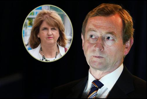Taoiseach Enda Kenny and (inset) new Tanaiste Joan Burton