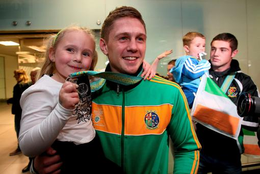 Jason Quigley with his sister Holly (five years)
