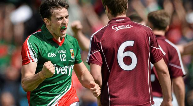Jason Doherty , Mayo, celebrate's after scoring his side's second goal. Connacht GAA Football Senior Championship Final, Mayo v Galway, Elverys MacHale Park, Castlebar, Co. Mayo. Picture credit: David Maher / SPORTSFILE