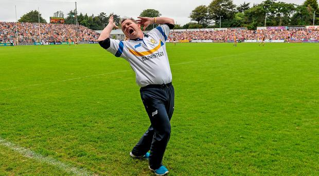 Clare manager Davy Fitzgerald shows his frustration as a decision goes against Clare late in normal time during their qualifier clash with Wexford. Photo: Ray McManus / SPORTSFILE