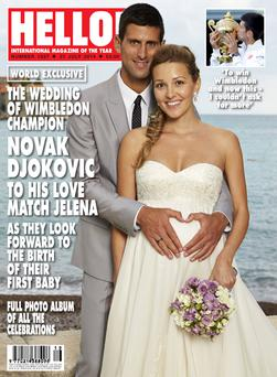 Novak Djokovic with wife Jelena Ristic. Photo: Hello! Magazine/PA Wire