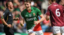 Mayo's Jason Doherty celebrates after scoring his side's second goal in the Connacht SFC final at MacHale Park. Photo: David Maher / SPORTSFILE