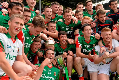 Mayo minor players celebrate with the trophy after their win over Roscommon in the Connacht MFC final at MacHale Park. Photo: David Maher / SPORTSFILE