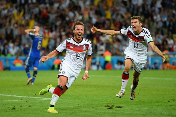 Mario Goetze celebrates after scoring the match-winning goal for Germany's in their World Cup final win over Argentina. Photo: Jamie McDonald/Getty Images