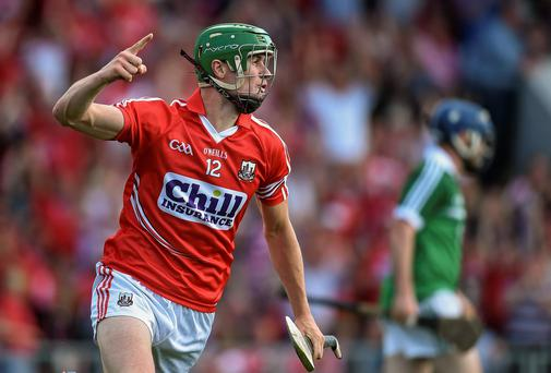 Cork's Seamus Harnedy celebrates after scoring his side's crucial first goal during their Munster SHC final victory over Limerick at Pairc Uí Chaoimh. Photo: Brendan Moran / SPORTSFILE