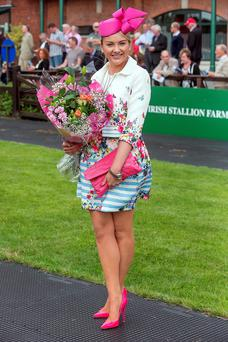 Louise Allen, winner of the Best Dressed Lady pictured at at Lyrath Estate Hotel & Spa Summer Ladies Day at Fairyhouse Racecourse. Photo: Pat Moore.