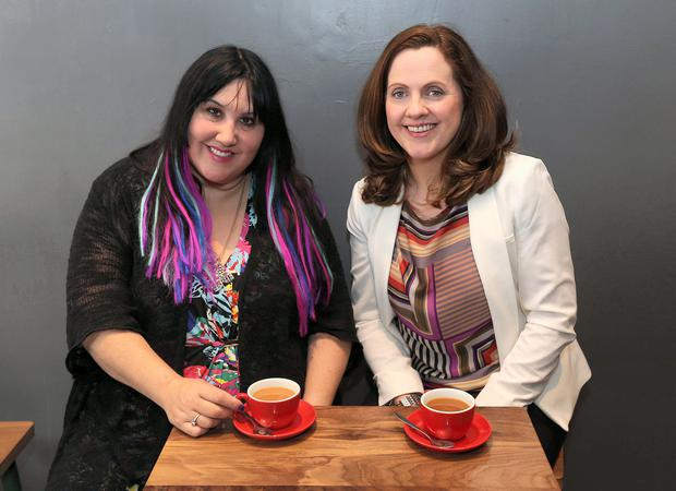 Andrea Smith with 2fm dj, Ruth Scott, picture for tea for two interview. Picture credit; Damien Eagers / Evening Herald