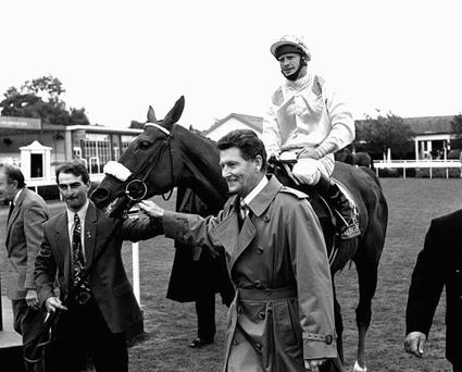 Vintage Crop, ridden by Mick Kinane, after his win in the 1994 Irish St Leger