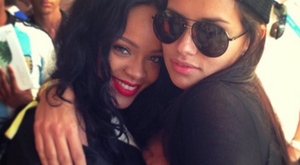 Adriana Lima and Rihanna met at the Maracana Stadium last night