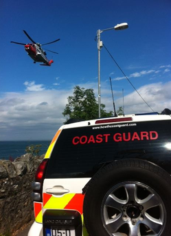 A member of the public issued an emergency call at approximately 3.27pm when a man jumped a 30-foot drop into the water at Balscadden beach and was believed to have suffered a back injury. (Photo: Howth Coastguard)