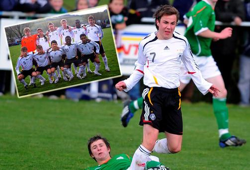 Germany's World Cup hero Mario Gotze in action when his team (inset) played Ireland in an u-16 game in Listowel in County Kerry in 2008. Picture: Eamonn Keogh