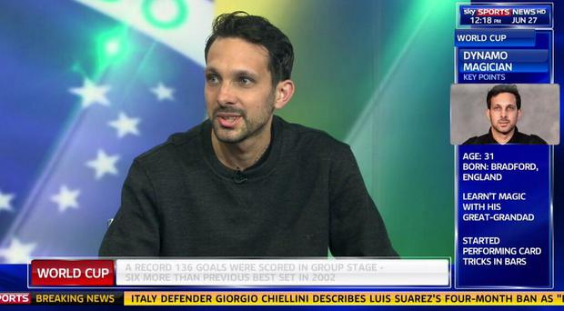 Street illusionist Dynamo during his appearance on Sky Sports News where he correctly predicted Germany's late win and Neymar injury