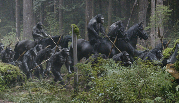 Film still from Dawn Of The Planet Of The Apes.