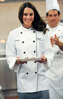 Kate pictured at hands-on cooking class at the Quebec Tourism and Hotel Institute.