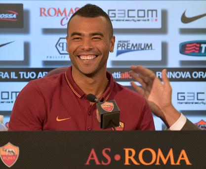 Former Chelsea left back Ashley Cole attends a press conference during the official presentation in Rome