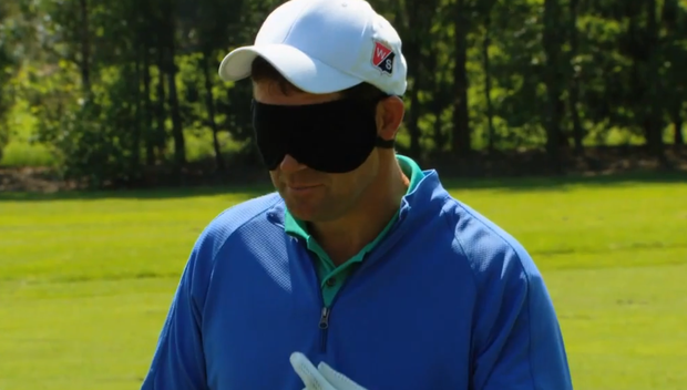 A blindfolded Padraig Harrington