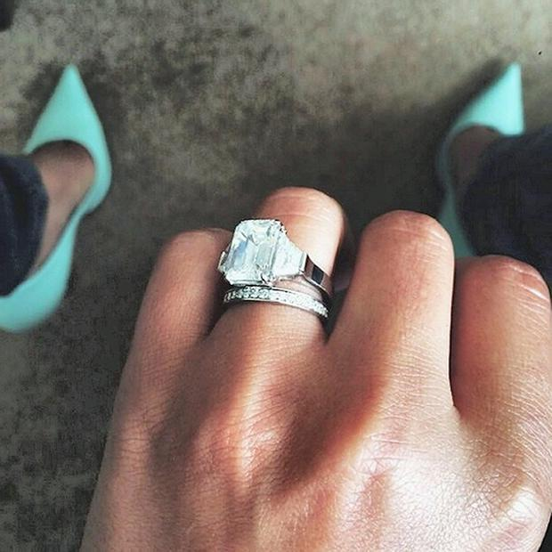 Screen grab taken from the Instagram account of Cheryl Cole showing her wedding ring after she confirmed that she had married her French boyfriend a week ago.