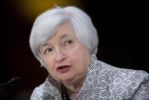 Janet Yellen, chair of the U.S. Federal Reserve, speaks during a Senate Banking Committee hearing in Washington, D.C., U.S., on Tuesday, July 15, 2014. Yellen told lawmakers the central bank must press on with monetary stimulus as