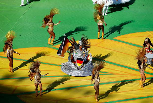 Dancers perform at the World Cup closing ceremony at the Maracana in Rio de Janeiro. Photo by Pool/Getty Images