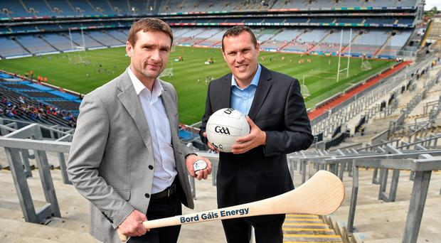 Dublin great Ciaran Whelan (right) attending the launch of the Bord Gais Energy Legends Tour alongside Tony Browne. Picture credit: Barry Cregg / SPORTSFILE