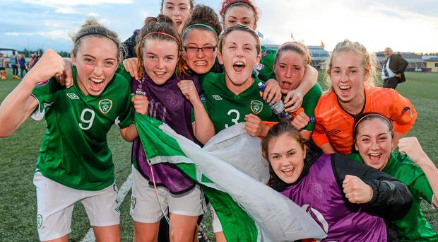 Republic of Ireland players celebrate after their 1-0 victory over Spain in the UEFA Women's U-19 Championship Finals in Norway. Photo: Stephen McCarthy / SPORTSFILE