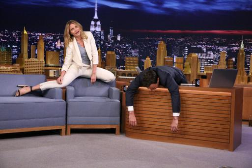 THE TONIGHT SHOW STARRING JIMMY FALLON -- Episode 0086 -- Pictured: (l-r) Actress Cameron Diaz during an interview with host Jimmy Fallon on July 15, 2014 -- (Photo by: Douglas Gorenstein/NBC/NBCU Photo Bank via Getty Images)
