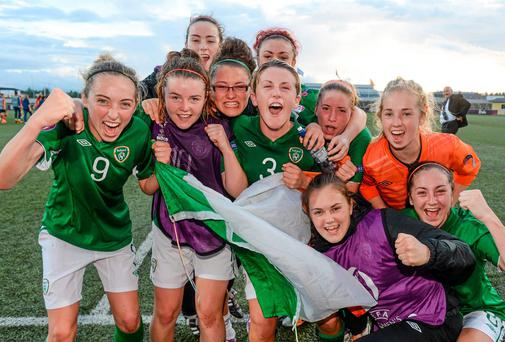 15 July 2014; Republic of Ireland players celebrate after the game. UEFA Women's U19 Championship Finals, Republic of Ireland v Spain, UKI Arena, Jessheim, Norway. Picture credit: Stephen McCarthy / SPORTSFILE