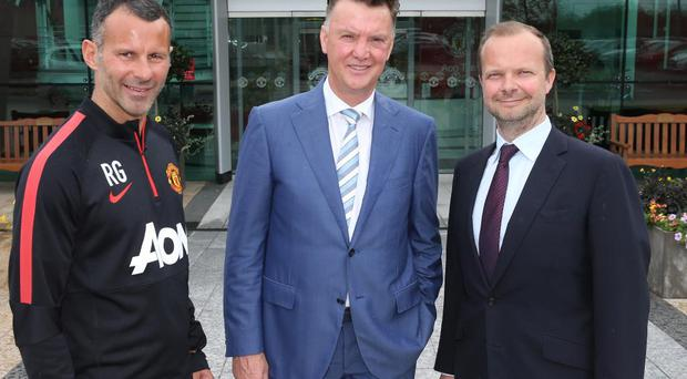 Van Gaal with Ryan Giggs and Ed Woodward today