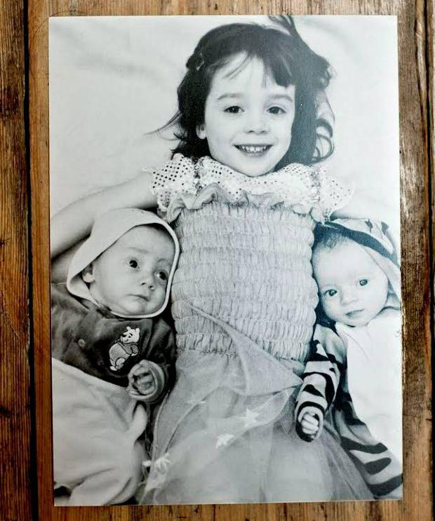 Denise's daughter Amy with her twin brothers, Joe (left) and Dan