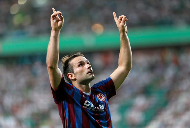 Christy Fagan celebrates after scoring St Patrick's Athletic's goal against Legia Warsaw in their UEFA Champions League second qualifying round first-leg tie in Poland. Photo: Lukasz Grochala / SPORTSFILE