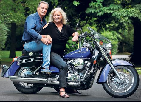 Co owners of L'Ecrivain restaurant Sallyane and Derry Clarke at the launch in St. Stephens Green of the Annual Across Ireland Motort Cycle Fun Run in aid of Teen-Line Ireland