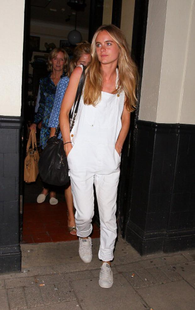 "Cressida Bonas leaving the Rosemary Branch theatre after her performance in ""There's a Monster in the Lake"""
