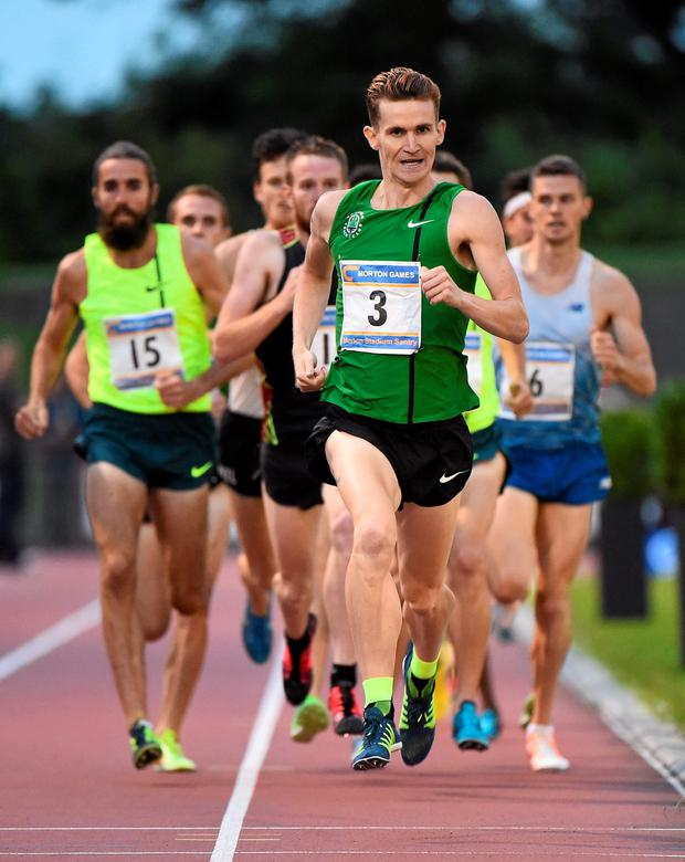 Leevale's Ciaran O'Lionaird, leads the field during the opening lap of last week's Morton Mile at Santry Stadium. (Ramsey Cardy / SPORTSFILE)