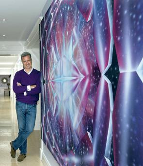 Food entrepreneur Dermot Hanley in the long hall, which lets in an abundance of light as the roof is punctuated with several light wells. The huge purple picture was painted by his uncle, Michael Ashe