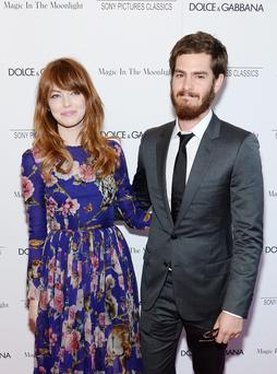 "Actors Emma Stone and Andrew Garfield attend the ""Magic In The Moonlight"" premiere at the Paris Theater"