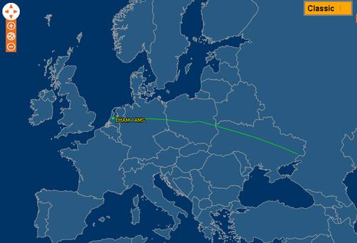 FlightAware.com image showing the MH17 flight path
