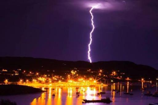 Baltimore, Ireland struck by lighting. Taken by Pierce Higgins