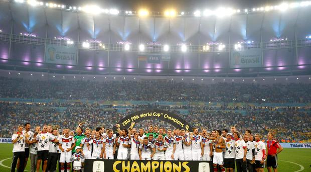 Germany players celebrate winning the World Cup final at the Maracana stadium in Rio de Janeiro