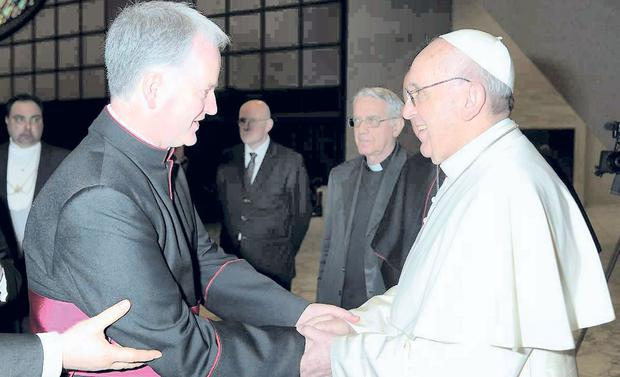 Social media: Mons. Paul Tighe with Pope Francis. Mons. Tighe will have a key role in the reform plans.
