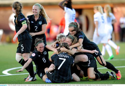 Republic of Ireland's Keeva Keenan, 7, celebrates with team-mates after scoring her side's second goal. UEFA Women's U19 Championship Final, Republic of Ireland v England, Mjøndalen Stadium, Mjondalen, Norway. Picture credit: Morten Olsen / SPORTSFILE