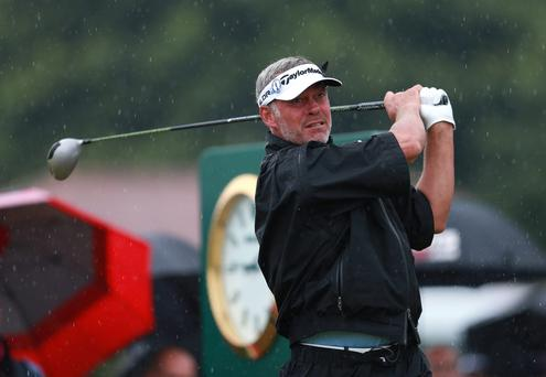 Northern Ireland's Darren Clarke tees off the 10th to start his round during day three of the 2014 Open Championship at Royal Liverpool Golf Club, Hoylake.
