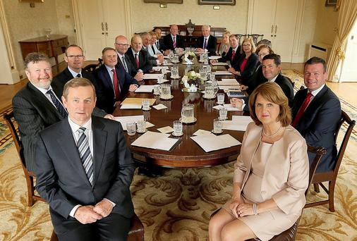 The new cabinet pictured at Áras an Uachtaráin. Photo: Gerry Mooney