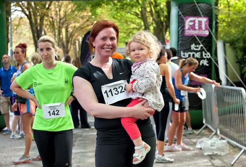 Yvonne Hogan with her daughter Ava after the Fit Magazine Cork City Series 5k race last week.