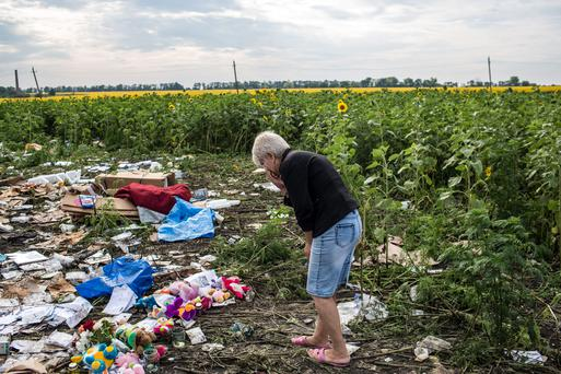 A woman looks at debris from Malaysia Airlines flight MH 17 which landed in a field of sunflowers on July 19, 2014 in Rassipnoye, Ukraine