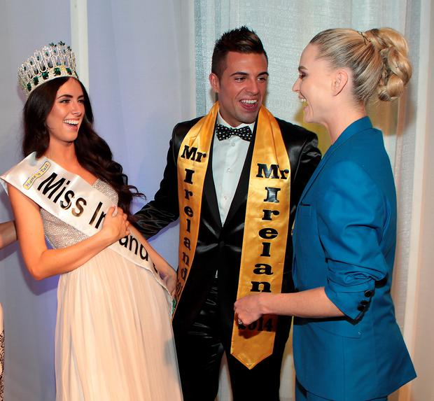 Miss Buck Whaleys Jessica Hayes from Cork who was crowned Miss Ireland 2014 at The Ballsbridge Hotel Dublin. also pictured are Mr Ireland 2014 Karl Bowe and Former Miss Ireland Sarah Morrissey. Pic:Brian McEvoy