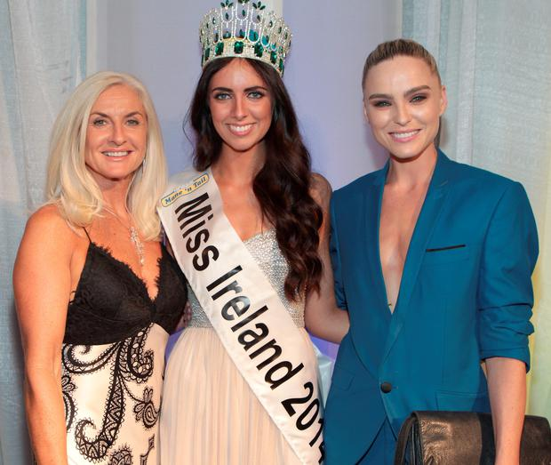 Former Miss Ireland's Olivia Treacy and Sarah Morrissey with Miss Buck Whaleys Jessica Hayes from Cork (Centre)) who was crowned Miss Ireland 2014 at The Ballsbridge Hotel Dublin. Pic:Brian McEvoy