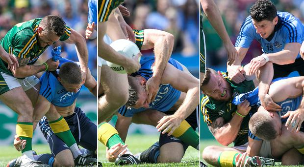 Dublin and Meath players clash during yesterday's Leinster Final