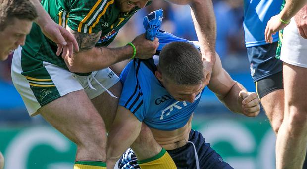 Mickey Burke and Eoghan O'Gara clash in last Sunday's Leinster Final